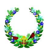 Christmas Wreath With Red Cardinal Birds Royalty Free Stock Image