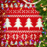 Christmas wreath on red. EPS 10 Royalty Free Stock Photos