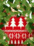 Christmas wreath on red. EPS 10 Stock Images