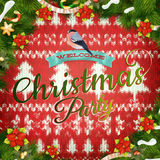 Christmas wreath on red. EPS 10 Royalty Free Stock Photo