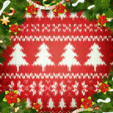 Christmas wreath on red. EPS 10 Royalty Free Stock Image