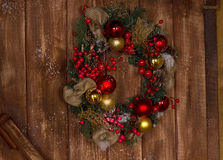 Christmas Wreath with Red and Gold Balls Stock Image