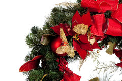 Christmas wreath with red and gold on white Stock Photos