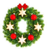 Christmas wreath with red and golden balls Royalty Free Stock Photography