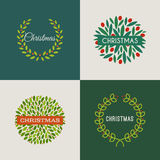 Christmas wreath with red holly berries. Set of vectors Royalty Free Stock Photo