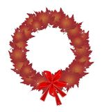 Christmas Wreath of Red Maple Leaves and Bows Stock Image