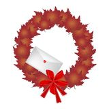 Christmas Wreath of Red Maple Leaves and Envelope. Christmas Wreath of Maple Leaves in Red Colors with Lovely Envelope, Sign for Christmas Celebration vector illustration