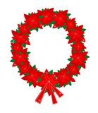 Christmas Wreath of Red Poinsettia Flowers and Bow Stock Images