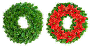 Christmas wreath. Red poinsettia flowers decoration Stock Image