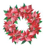 Christmas wreath with red poinsettia flowers. vector illustration