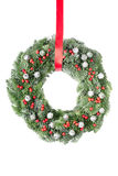 Christmas wreath with red ribbon Royalty Free Stock Photography