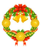 Christmas wreath with red ribbon and bells Stock Image