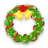 Christmas wreath with red ribbon. Bells and balls on white background vector Royalty Free Stock Images