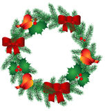 Christmas Wreath with red ribbon and birds. Vector Royalty Free Stock Images