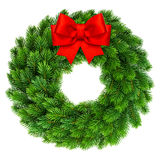 Christmas wreath with red ribbon bow decoration Stock Photography