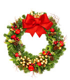 Christmas wreath with red ribbon bow and golden decorations. Isolated on white background Royalty Free Stock Photos