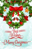 Christmas wreath with ribbon and bow greeting card Royalty Free Stock Images