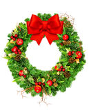 Christmas wreath with red ribbon bow isolated on white Stock Photos
