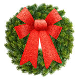 Christmas wreath with red ribbon bow isolated on white Royalty Free Stock Photos