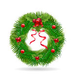 Christmas wreath with red ribbon. Logo vector background holiday symbol design Royalty Free Stock Image