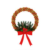 Christmas wreath with red ribbon and natural decoration. Isolated on white , clipping path included Royalty Free Stock Image