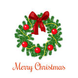 Christmas wreath with red ribbon and ornament balls royalty free stock photo