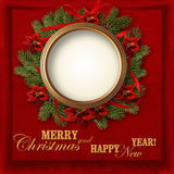 Christmas wreath on a red vintage background with photo-frame Royalty Free Stock Image