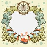 Christmas wreath retro card template Royalty Free Stock Photography