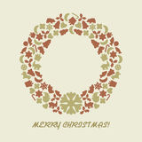 Christmas wreath in retro style Stock Photos