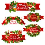Christmas wreath ribbon banner for winter holidays Stock Images