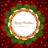 Christmas wreath with ribbon Royalty Free Stock Photo