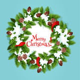 Christmas wreath with ribbon greeting card design Royalty Free Stock Image