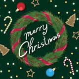 Christmas Wreath with ribbons with red bow.  Royalty Free Stock Photography