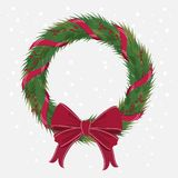 Christmas Wreath with ribbons red bow.  Royalty Free Stock Image
