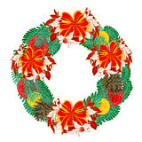 Christmas wreath with ribbons vector Stock Image