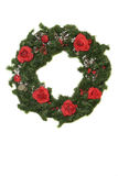 Christmas Wreath with roses. Christmas Wreath with red roses and baby breath on a white background Stock Photo