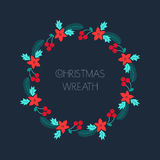 Christmas wreath with rowanberry,fir branches, poinsettia. Cute round frame for Christmas cards, invitations, print and winter des Stock Images