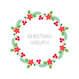 Christmas wreath with rowanberry,fir branches, poinsettia. Round frame for Christmas cards, invitations, print and winter design. Stock Photo