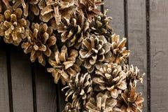 Christmas wreath on a rustic wooden front door stock photos