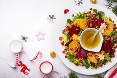 Christmas wreath salad royalty free stock photo