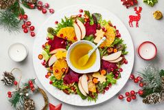 Christmas wreath salad stock photo