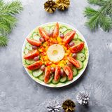 Christmas Wreath salad close up with fir tree branches and decorations. Flat lay, top view stock photo