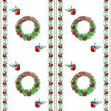 Christmas wreath seamless pattern. New Year and Christmas wreath and fir and pine branches seamless pattern Royalty Free Stock Photo