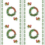 Christmas wreath seamless pattern. New Year and Christmas wreath, fir and pine branches, bells seamless pattern Stock Image