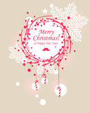 Christmas wreath. Seasonal greetings background Royalty Free Stock Photos
