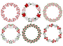 Christmas wreath set Stock Photo