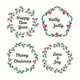 Christmas Wreath Set. Line Style Winter Collection. Stock Image