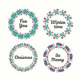 Christmas Wreath Set. Line Style Winter Collection. Royalty Free Stock Image