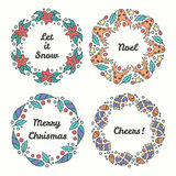 Christmas Wreath Set. Line Style Winter Collection. Royalty Free Stock Photo