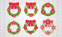 Christmas wreath set with red bow icon with long shadow. Stock Photos